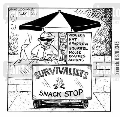 sparrow cartoon humor: Survivalists Snack Stop.
