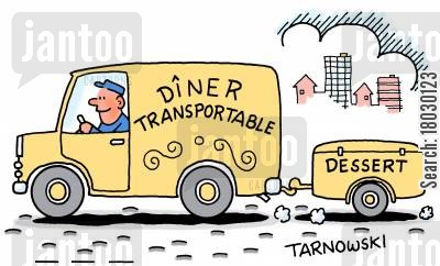 take away cartoon humor: Dîner Transportable - plus dessert.