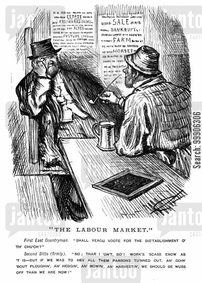 workers cartoon humor: Two men discussing employment in a pub.