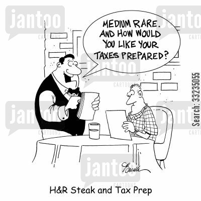 tax payments cartoon humor: H&R Steak and Tax Prep.