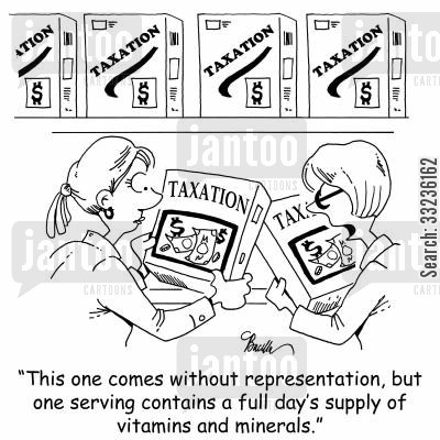 representation cartoon humor: 'THis one comes without representation, but one serving contains a full day's supply of vitamins and minerals.'
