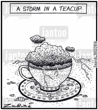 teacup cartoon humor: A storm in a teacup.