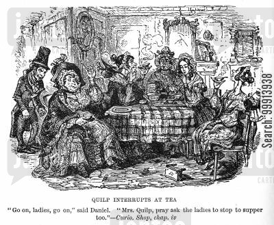 moneylender cartoon humor: Quilp interupts at tea