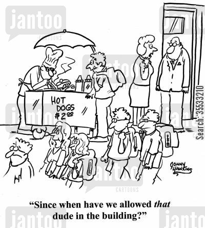 school cafeteria cartoon humor: Teacher to other about hot dog vendor: 'Since when have we allowed that dude in the building?'