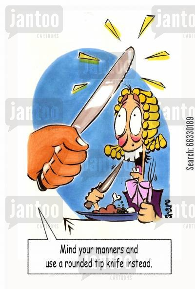 flossing cartoon humor: Mind your manners and use a rounded tip knife instead.