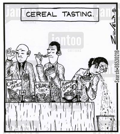 breakfast cereals cartoon humor: Cereal Tasting.