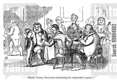dinner party cartoon humor: Master Tommy Newcome entertaining his stepmother's guests.