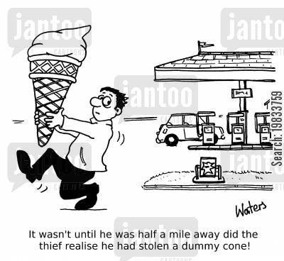 ice cream vans cartoon humor: It wasn't until he was half a mile away did the thief realise he had stolen a dummy cone!