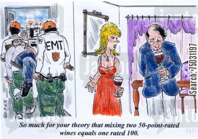 emt cartoon humor: 'So much for your theory that mixing two 50-point-rated wines equals one rated 100.'