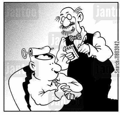 tinned food cartoon humor: Therapist looking into man's head, which is peeled back like a can.