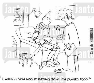 medical warning cartoon humor: 'I warned you about eating so much canned food.'