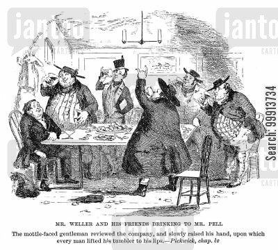 pickwick papers cartoon humor: Mr. Weller and his friends drinking to Mr. Pell