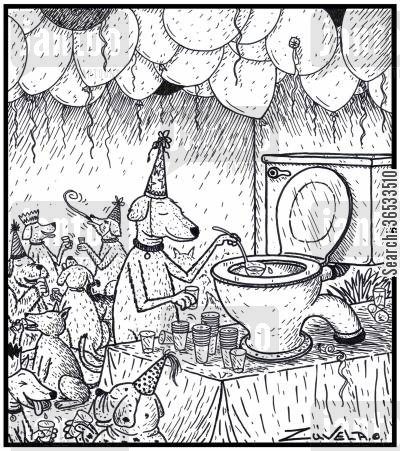 punchbowls cartoon humor: A dog party using toilet water and a toilet as their version of a Punchbowl.