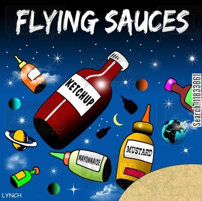 space craft cartoon humor: Flying Sauces