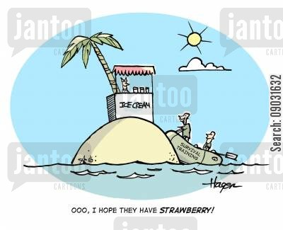 ice cream stand cartoon humor: 'Ooo, I hope they have strawberry!!' -(Ice cream stand)