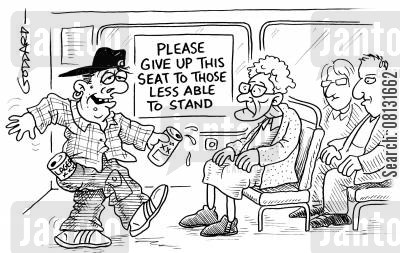 priority seat cartoon humor: 'Please give up this seat to those less able to stand.'