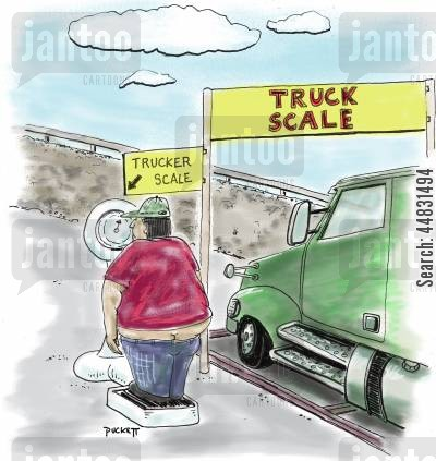 semi cartoon humor: Truck scale to weigh the truck as well as a 'trucker scale' to weigh the driver