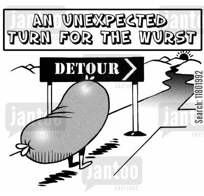 diversions cartoon humor: An unexpected turn for the wurst.