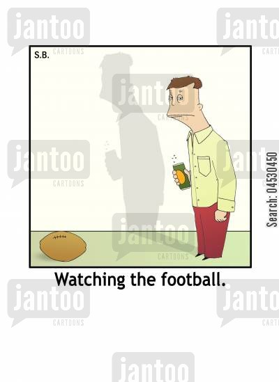 public house cartoon humor: 'Watching the football.'