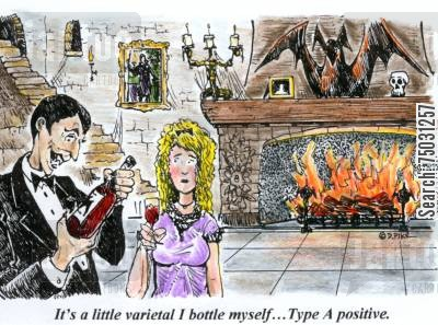 blood type cartoon humor: 'It's a little varietal I bottle myself...Type A positive.'