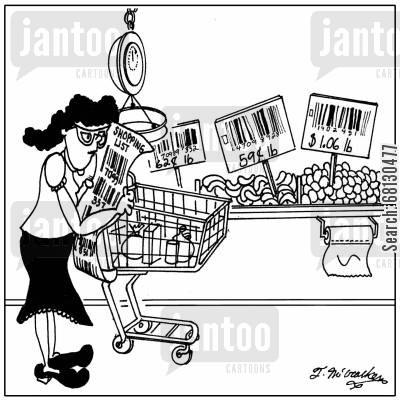 fruit and vegetables cartoon humor: A woman's shopping list is a bunch of barcodes & she stands in front of vegetables labeled with barcodes.