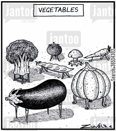 aubergine cartoon humor: An assortment of vegetables in the form of Tables