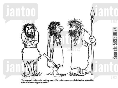hunting and gathering cartoon humor: 'Og doesn't believe in eating meat....