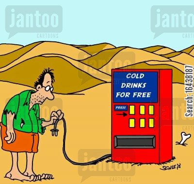 dehydrating cartoon humor: Cold drinks for free in the desert