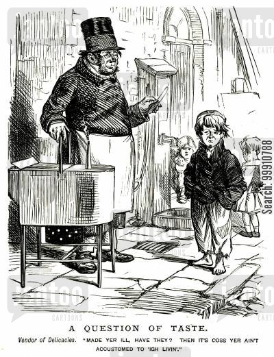 consumption cartoon humor: Boy complaining to street vendor of delicacies
