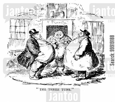 victorian obesity cartoon humor: The Three Tuns