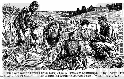 victorian picnic cartoon humor: Things one would rather have left unsaid.