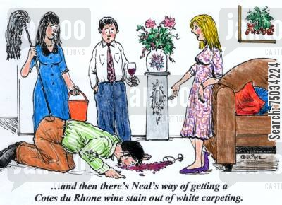 stains cartoon humor: ...and then there's Neal way of getting a Cotes du Rhone wine stain out of white carpeting.'