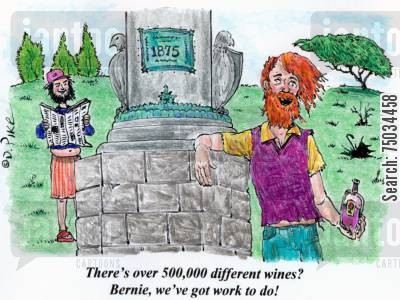 imbibe cartoon humor: 'There's over 500,000 different wines? Bernie, we've got work to do!'