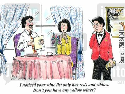 steward cartoon humor: 'I noticed your wine list only has reds and whites. Don't you have any yellow wines?'