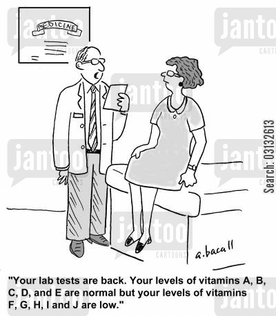 balanced diets cartoon humor: 'Your lab tests came back. Your levels of vitamin A,B,C,D,and E are normal but your levels of vitamins F,G,H,I, and J are low.'