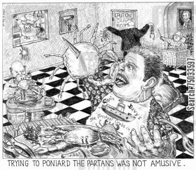 seafood restaurants cartoon humor: 'Trying to poniard the partans was not amusive.'