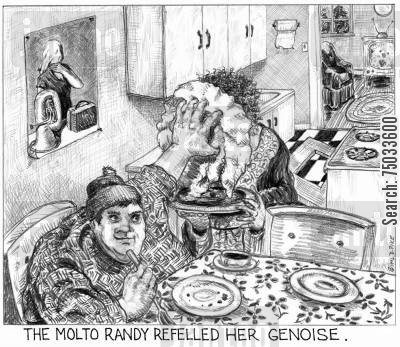 disrespect cartoon humor: 'The molto randy refelled her genoise.'