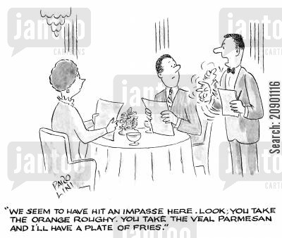 arguement cartoon humor: Waiter battles with his customers.