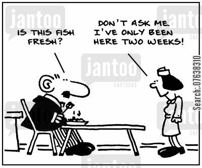 seafoods cartoon humor: 'Is this fish fresh? Don't ask me, I've only been here two weeks.'