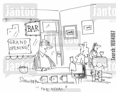 bar maids cartoon humor: 'The usual.'