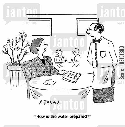 preparing cartoon humor: 'How is the water prepared?'