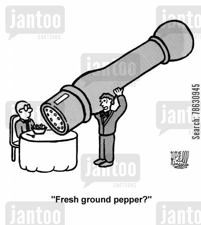 salads cartoon humor: 'Fresh ground pepper?'