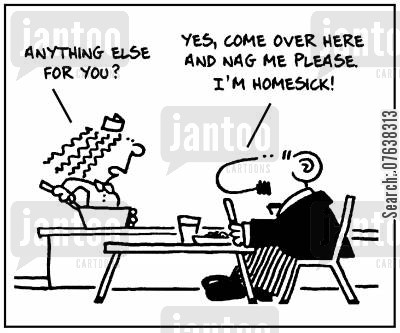 naggers cartoon humor: 'Anything else for you? Yes, come over here and nag me please. I'm homesick.'