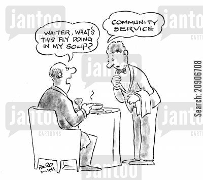 rude waiter cartoon humor: 'Waiter, what's this fly doing in my soup?'