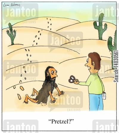 salty cartoon humor: 'Pretzel?'
