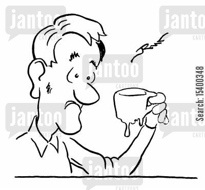 melt cartoon humor: Man with melted cup