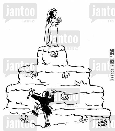 cake toppers cartoon humor: Groom climbing up a cake to get to his wife.
