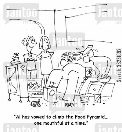 eating plan cartoon humor: Al has vowed to climb the Food Pyramid...one mouthful at a time.'