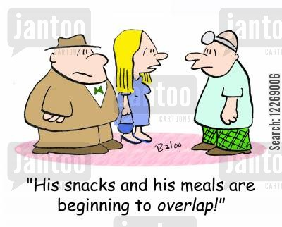 comfort eating cartoon humor: 'His snacks and his meals are beginning to OVERLAP!'