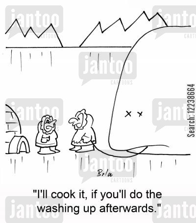 doing dishes cartoon humor: 'I'll cook it, if you'll do the washing up afterwards.'